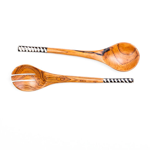African Olive Wood Salad Servers Oval Dagoretti Style