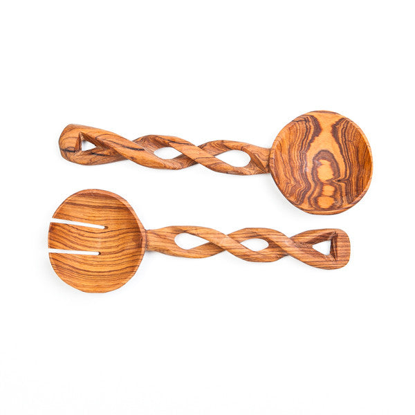 African Olive Wood Salad Servers Twisted Style