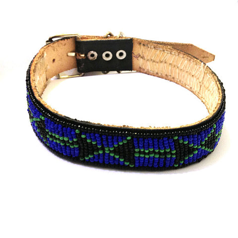 Maasai Beaded Leather Dog Collar Blue Black and Green Aztec Style