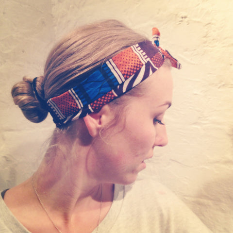 Headband blue and orange african print