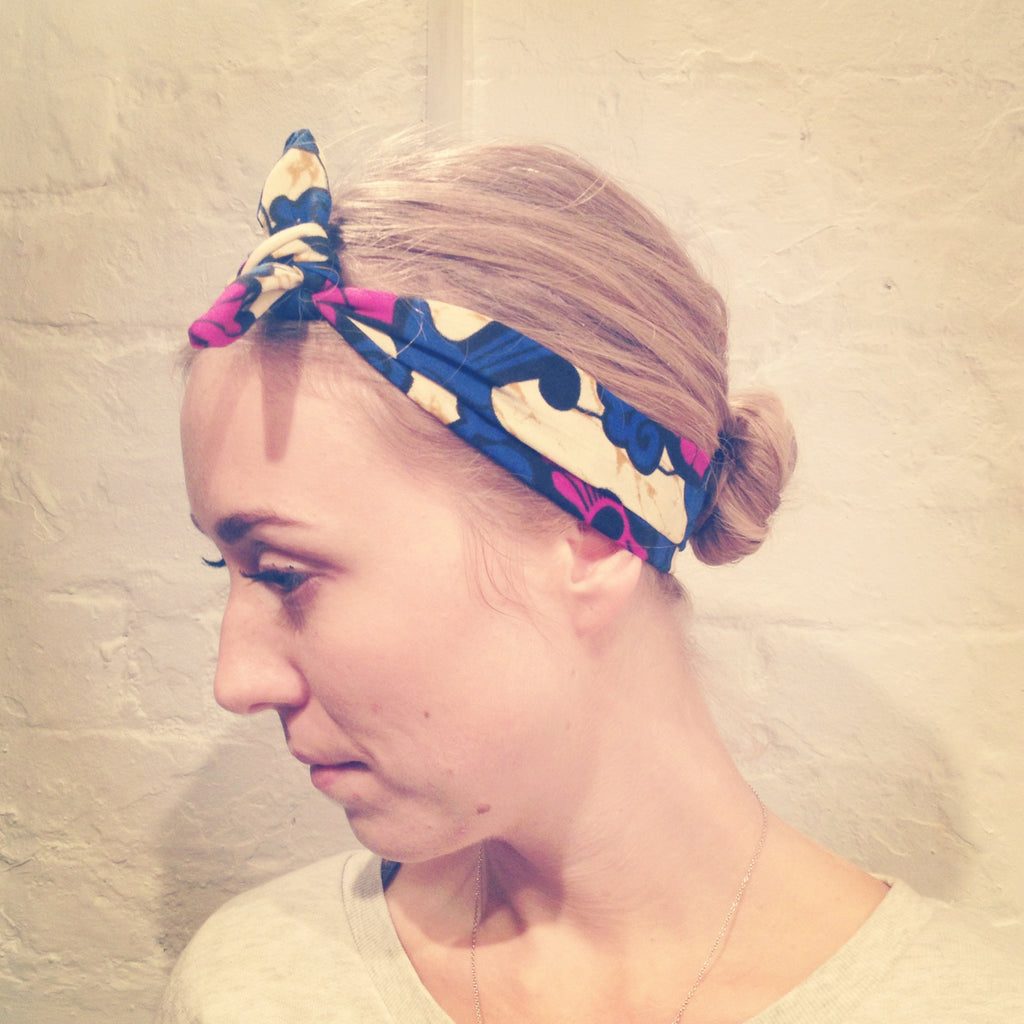 Headband blue and purple flower african print