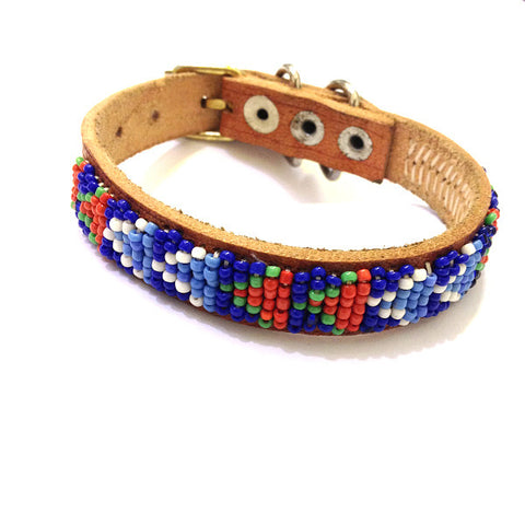 Maasai Beaded Leather Dog Collar Blue White and Red