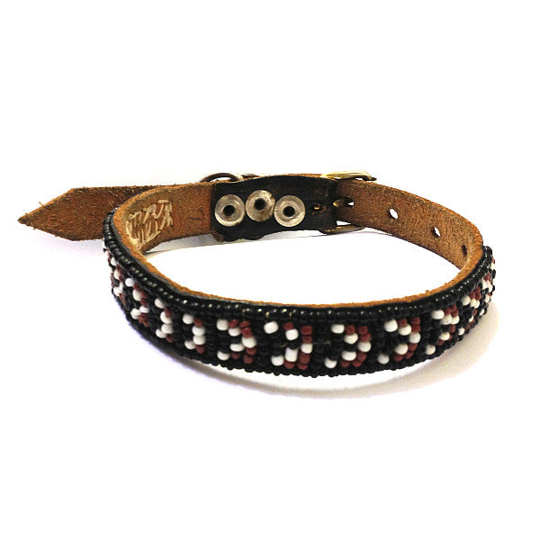 Maasai Beaded Leather Dog Collar Brown Black and White