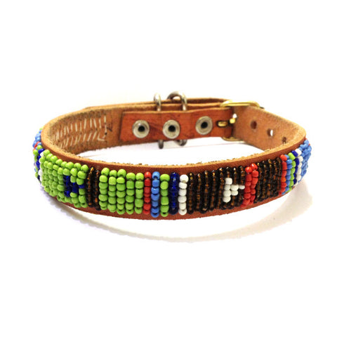 Maasai Beaded Leather Dog Collar Green and Brown
