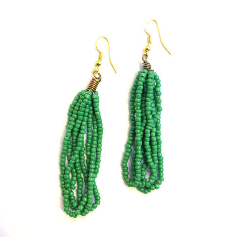 Maasai Drop Earrings Green Glass Beads