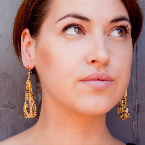 Maasai Drop Earrings Gold Brown