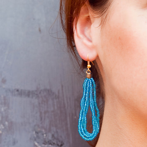 Maasai Drop Earrings Blue