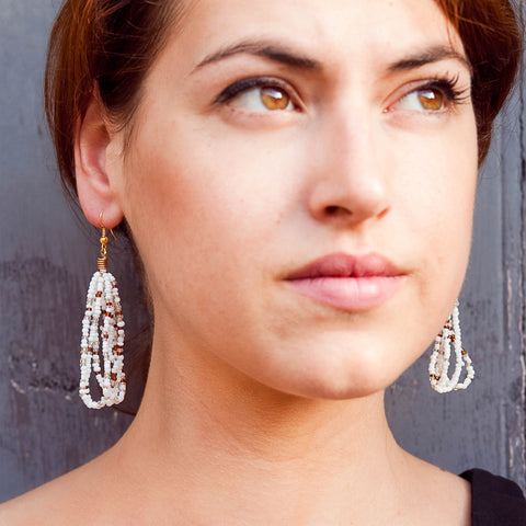 Maasai Drop Earrings White Brown
