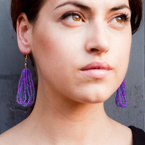 Maasai Drop Earrings Purple