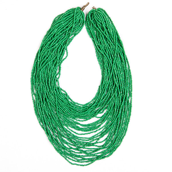 Maasai Glass Bead Necklace Green