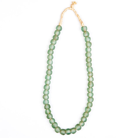 Recycled Glass Beads Necklace Light Green