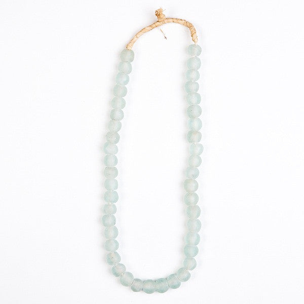 Recycled Glass Beads Necklace White