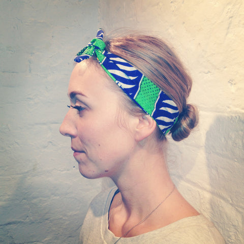 Headband green and blue african print