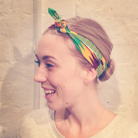 Headband green and yellow african print