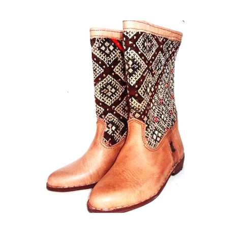 Red and White Kilim Carpet Boots