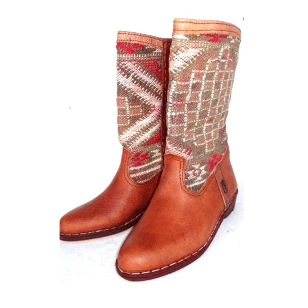 Rose pink Handmade Ethical Moroccan Kilim Boots
