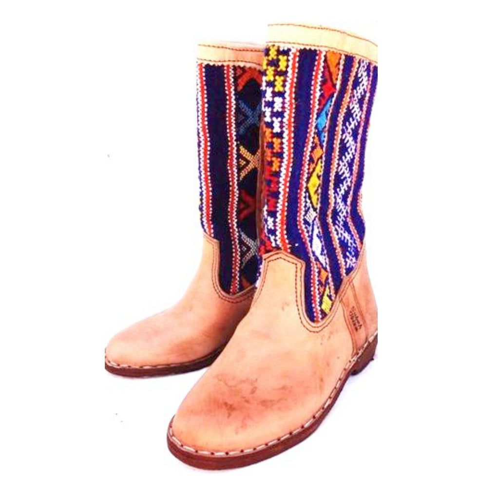 Blue and Yellow Moroccan Kilim Boots