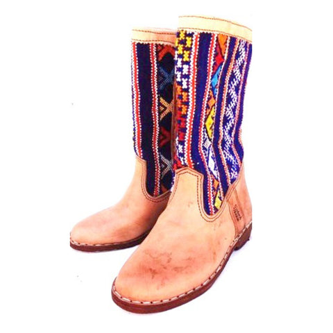 Blue and Yellow Kilim Carpet Boots
