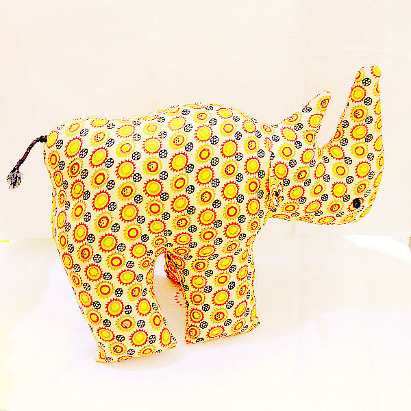 Rhinoceros toy large with African orange circle print pattern