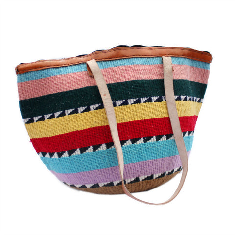 African Wool and Leather Bag with Pastel Yellow Red and Blue with Zipper