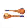 African Olive Wood Salad Servers Maasai Style Blue