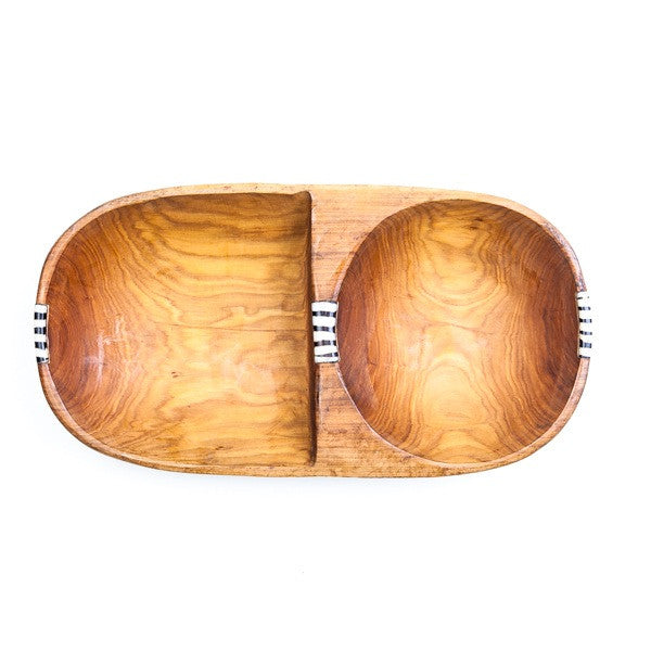 Long Hand carved Wooden Bowl with Two Different Shape Parts Bone Decoration