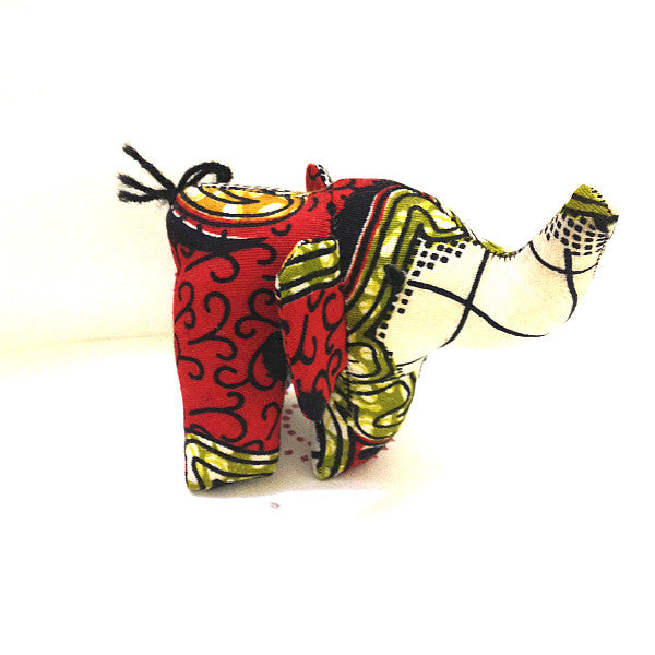 Elephant toy small with red and green african print floral pattern