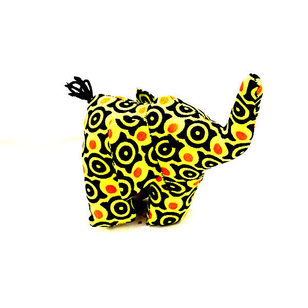 Elephant toy small with yellow and red african print circle pattern