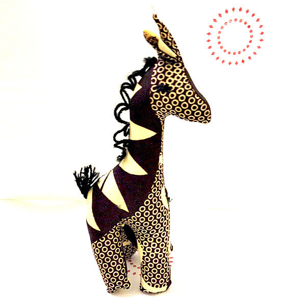 Giraffe toy small with brown and beige african print pattern