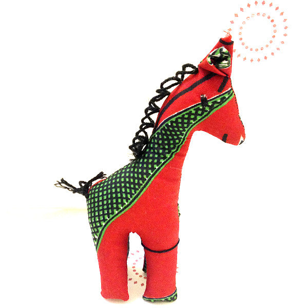 Giraffe toy small with green and red african print pattern