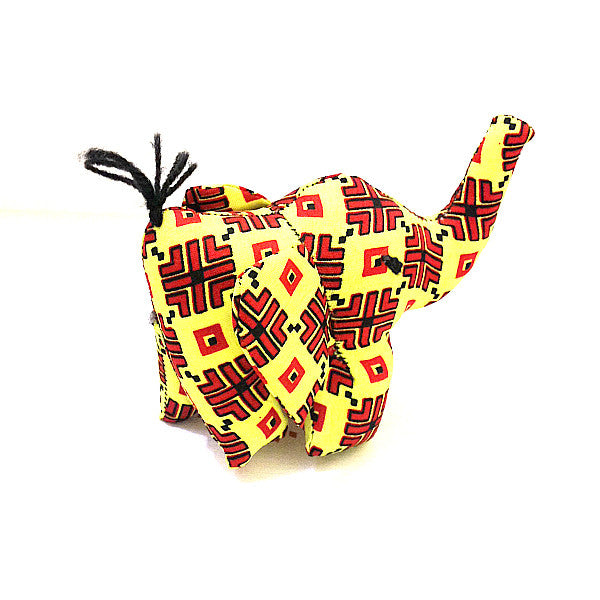 Elephant toy small with yellow and red african print pattern