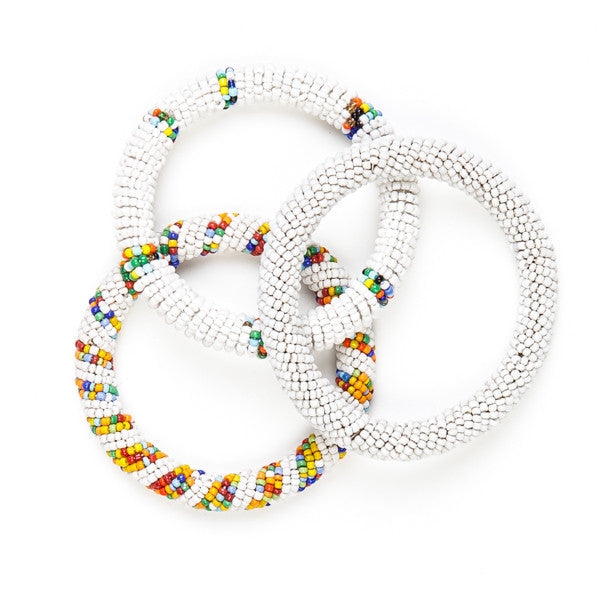 Maasai Beaded Bangles White
