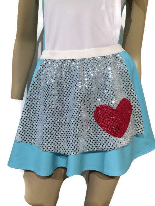 """Alice in Wonderland"" Inspired Sparkle Skirt With Sparkle Apron - Rock City Skirts"