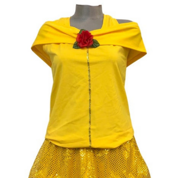 """Princess Belle"" Off Shoulder Costume W/Sash- final mark down - Rock City Skirts"