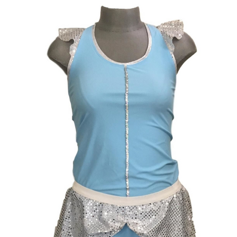 """Cinderella"" Inspired Sparkle Ruffle Racerback Shirt - Rock City Skirts"