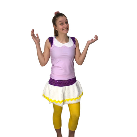 Daisy Duck Costume -Racerback Shirt and fluffy skirt - Rock City Skirts