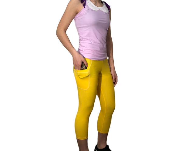 Yellow Capris with Pocket - Rock City Skirts