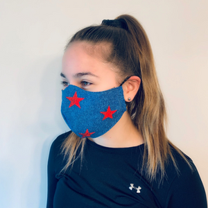 Denim and Star Water-Resistant Reusable Fitted Mask w/Filter Pocket - Rock City Skirts