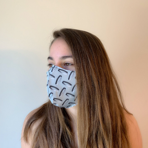 Unisex Adult Face Mask - Diamondplate - Water-Resistant - USA-Made, Washable Reusable Mask - Rock City Skirts
