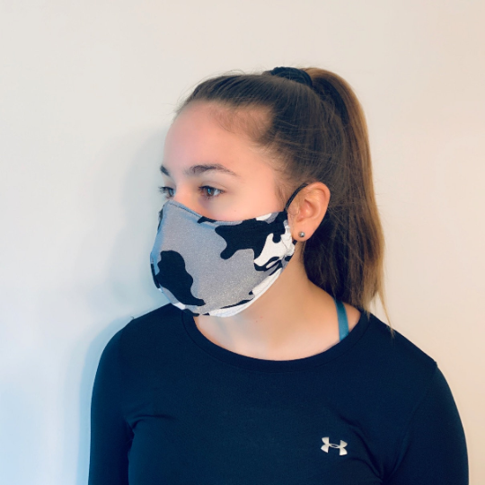 Black/white Camo Spandex Reusable Fitted Mask w/Filter Pocket - Rock City Skirts