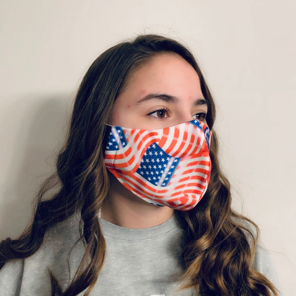 USA Flag Spandex Reusable Fitted Mask w/Filter Pocket - Rock City Skirts