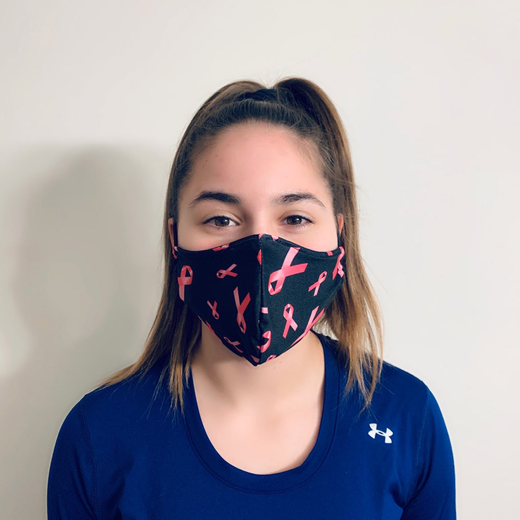 Pink Ribbon Breast Cancer Awareness Spandex Reusable Fitted Mask W Filter Pocket Rock City Skirts