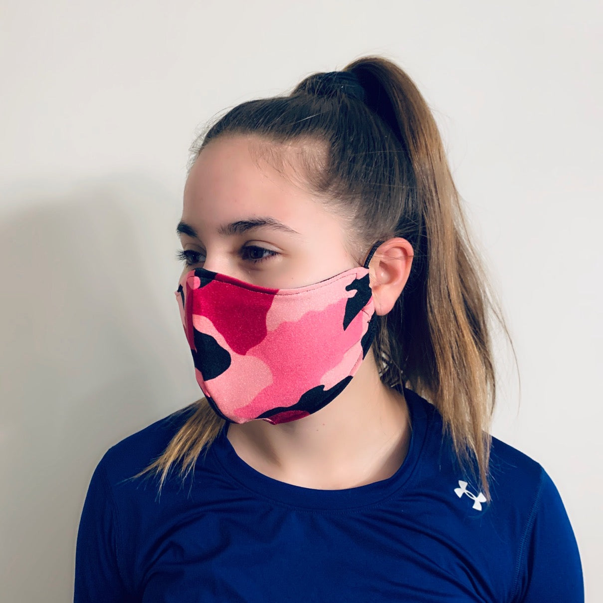 Pink Camouflage Spandex Reusable Fitted Mask w/Filter Pocket - Rock City Skirts