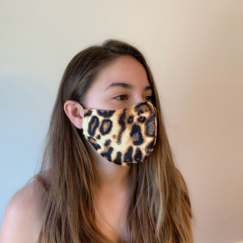 Leopard Spandex Reusable Fitted Mask w/Filter Pocket - Rock City Skirts
