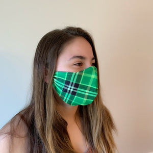 Green Plaid Spandex Reusable Fitted Mask w/Filter Pocket - Rock City Skirts