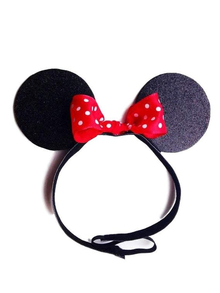 Mouse Inspired Ears Headband With Bow - Rock City Skirts