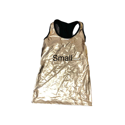 Sample Blow out- Small- as is, no refunds- Custom- Gold metallic racer (c3po) - Rock City Skirts