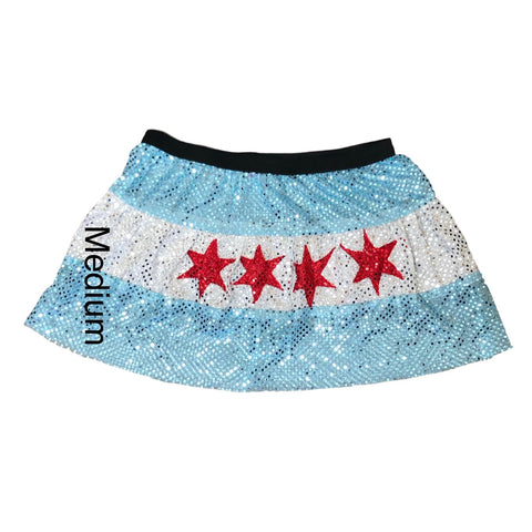 Blow out- Chicago flag skirt- medium -stars are not evenly distributed - Rock City Skirts