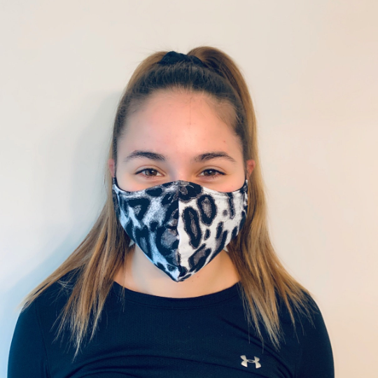 Black/White Leopard Spandex Reusable Fitted Mask w/Filter Pocket - Rock City Skirts