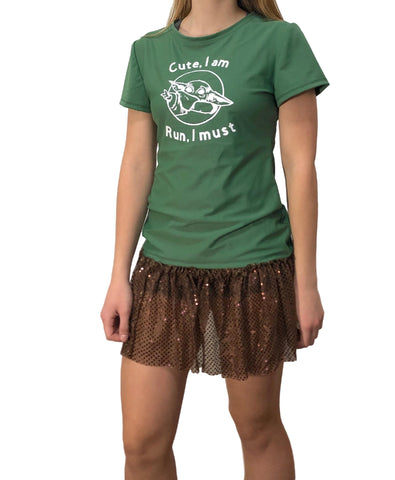 Baby Yoda running Shirt With Sparkle Running Skirt - Rock City Skirts